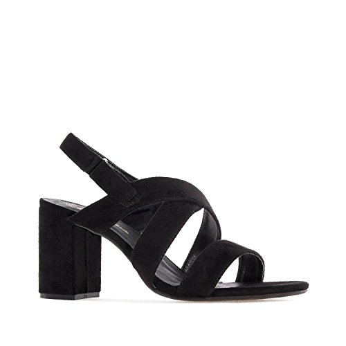 Andres Machado AM5246 Suede Heeled Sandals.Petite&Large Sizes: UK 0.5 to 2.5/EU 32 to 35 - UK 8 to 10.5/EU 42 to 45. Black Suede