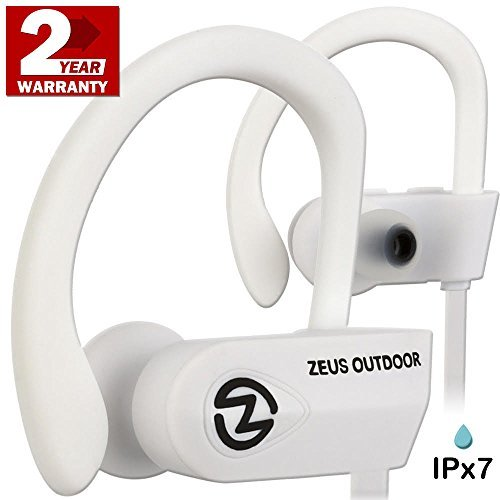 Wireless Headphones ZEUS OUTDOOR - Noise Isolating Wireless Earbuds - HD Stereo Waterproof headphones IPX 7 Sweatproof Headphones with Mic - Running Headphones - Sport Headphones - Workout (White)