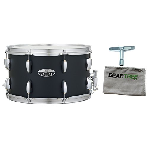 (Pearl MUS1480M227 Modern Utility 14x8 Maple Snare Drum, Satin Black w/Geartree)