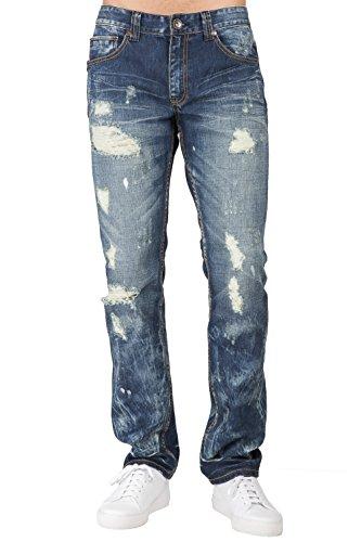 - Level 7 Men's Premium Jeans Slim Straight Leg Destroyed Blue Bleach Splatter Size 42 X 32