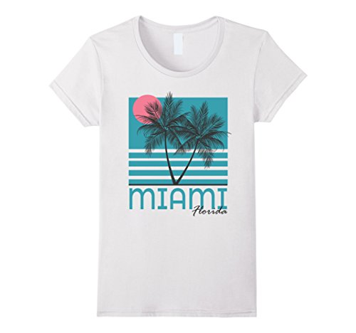 Womens Miami Beach Florida T Shirt Palm Trees Souvenirs Large - Beach Women Miami