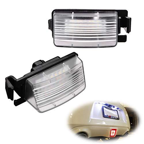 - iJDMTOY OEM-Fit 3W Full LED License Plate Light Kit For Nissan 350z 370z GT-R Cube Leaf Sentra Versa Infiniti G25 G35 G37 Q60, Powered by 18-SMD Xenon White LED