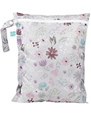Bumkins Waterproof Wet Bag, Washable, Reusable for Travel, Beach, Pool, Stroller, Diapers, Dirty Gym Clothes, Wet Swimsuits, Toiletries, 12x14 - Floral