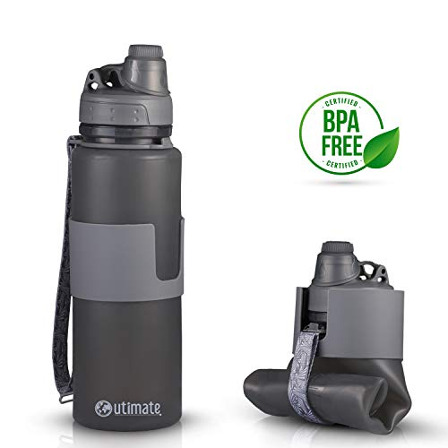 Outimate Collapsible Camping Water Bottle BPA Free 22oz, Reusable Silicone Leak Proof Portable Lightweight Water Bottle for Travel, Gym, Hiking & Sports