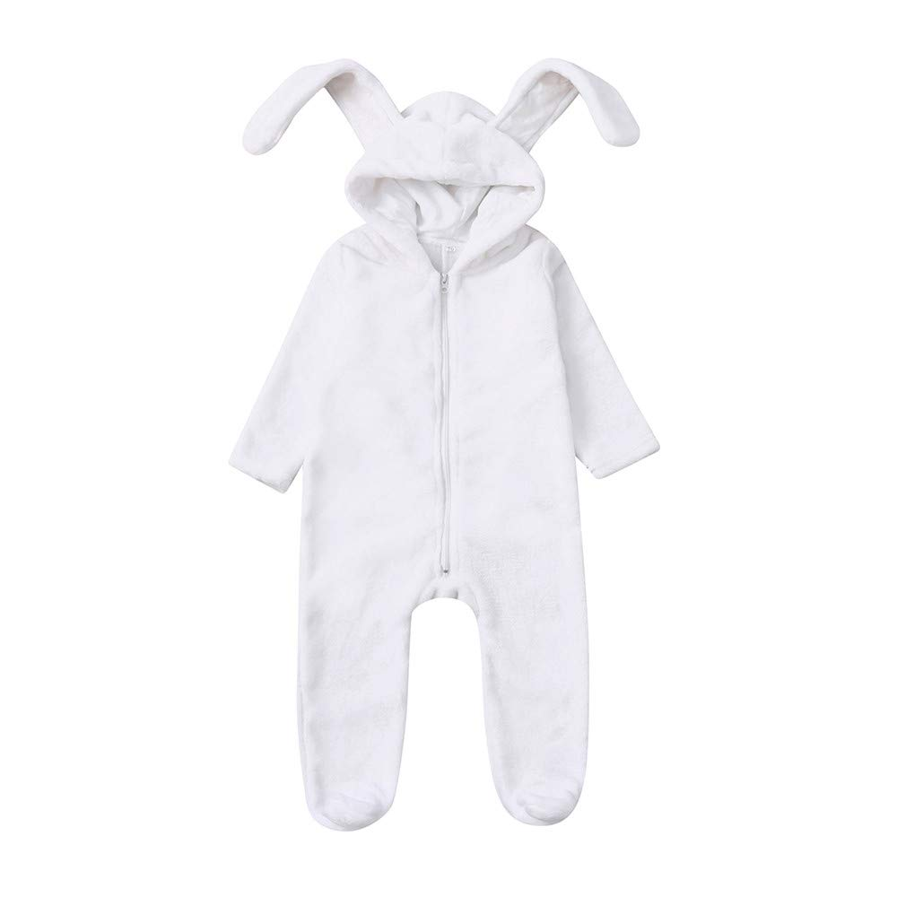 Oldeagle Newborn Toddler Baby Boys Girls Cartoon Bunny Ears Warm Hooded Romper Jumpsuit Baby Clothing Outfits