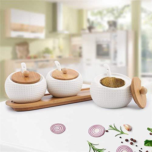 Kurzty Ceramic Jar Storage Organizer for Pickle Masala with Spoons & Tray, 200ML, 3 Pieces, White Price & Reviews