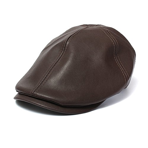 New Year's Gift, IKevan_Hat Mens Women Vintage Leather Beret Cap Peaked Hat Newsboy Sunscreen (Coffee)