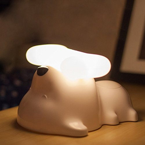 Dog Shaped Night Light, Cordless Bedside Touch Sensor LED Puppy Lamp, White by MyGift