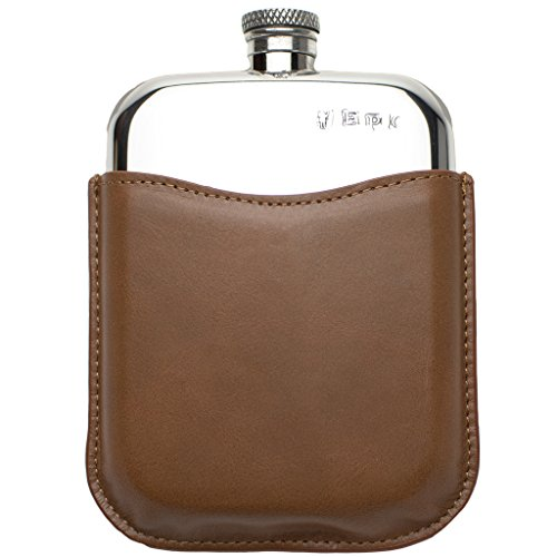 (Prince of Scots Premium English Pewter Flask with Leather Pouch)