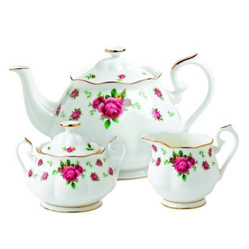Royal Albert New Country Roses White Teaset, 3-Piece