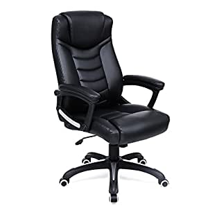 SONGMICS Thick Executive Office Chair with High Back Large Seat and Tilt Function Ergonomic Swivel Computer Chair PU Black UOBG21B