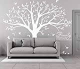 white tree decals - MAFENT Family Tree Wall Decal Quote- Family Like Branches On A Tree Lettering Tree Wall Sticker for Bedroom Decoration (White)