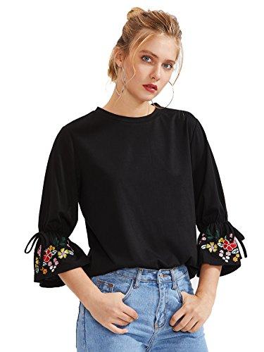 Floerns Women's Embroidered Bell Sleeve Summer T Shirt Black-1 L ()