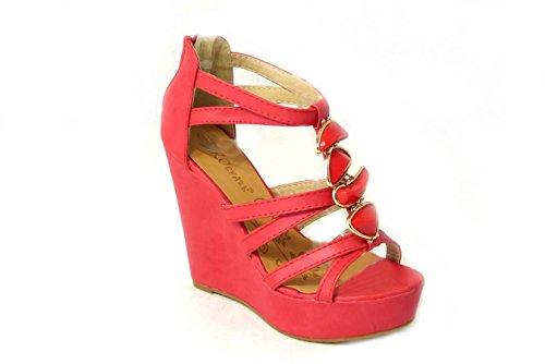 Taille Rouge Mi Compensées Bretelles SKO'S Chaussures Femmes Mesdames Nouvelles Peep Hauts Toe Talons Bas 18 Sandales IOWwfWq6