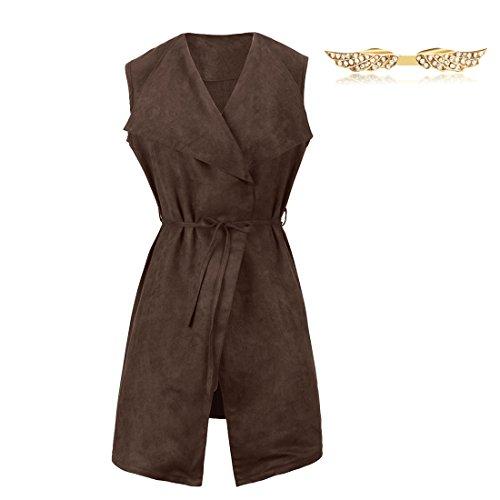 BYD Mujeres Chaleco de Cuero de la Cachemira Abrigo Chaquetas sin Manga Jacket Cardigans Vest Gabardina Parka Capa color 02