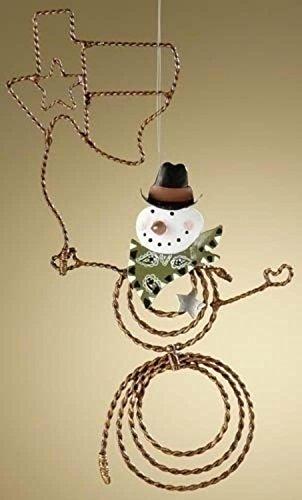 "8.5"" Snowman Lasso Texas Cowboy Western Christmas Ornament"