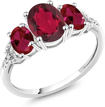 10K White Gold 2.35 Ct Oval Red Mystic Topaz Red Created Ruby 3-Stone Ring