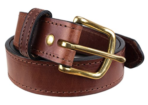 Handmade Stitched Bridle Leather Belt Extra Thick (Size 38, Brown)