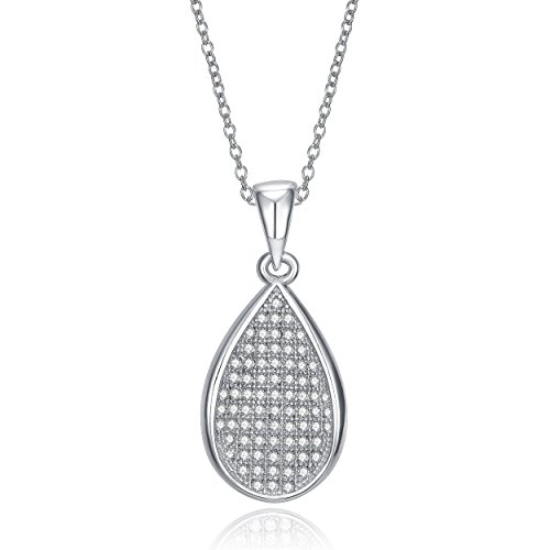 LUX AND GLAM Sparkle Pave Set Cubic Zirconia Pendant On 18
