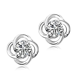 SEVENSTONE 925 Sterling Silver Stud Earrings With 6mm Round Cut Crystal,Special for Women Girls