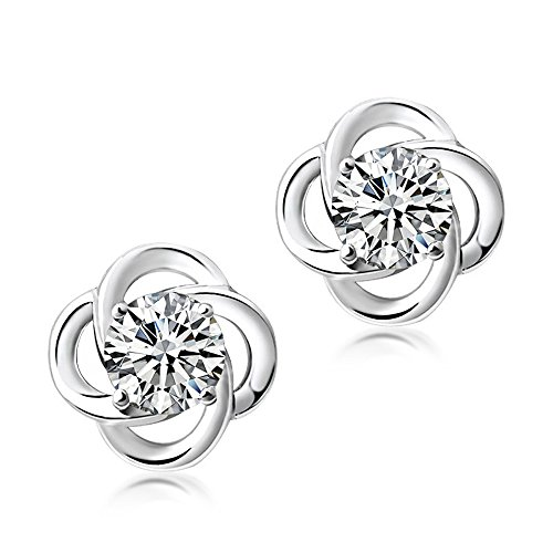 Crystal Round Fashion (SEVENSTONE Lucky Clover Stud Earrings in 925 Sterling Silver With 6mm Round Cut Crystal,Special for Women Girls)