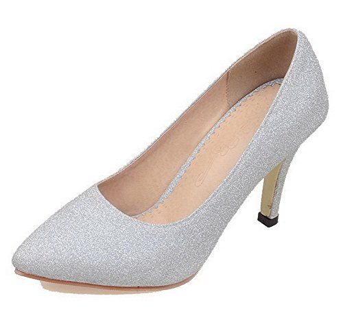 Solid Shoes Heels Silver High Pull Women's On Pumps Toe Glitter Pointed AllhqFashion vawqZx8