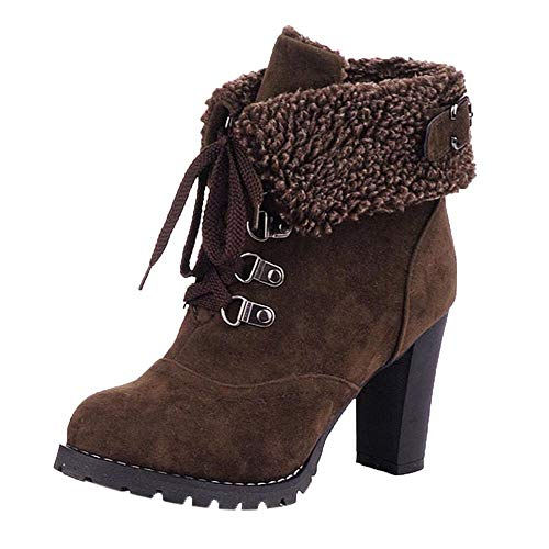 Cenglings Plus Size Women High Chunky Heel Lace-Up Ankle Shoes Suede Round Toe Faux Fur Warm Boots Size 5.5-9-5 Brown - Suede Wedge Heel