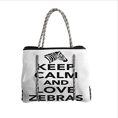 Neoprene Multipurpose Beach Bag Tote Bags,Zebra Print,Keep Calm and Love Zebras Lettering Quote with Zebra Head Pattern Silhouette,Black White,Women Casual Handbag Tote Bags