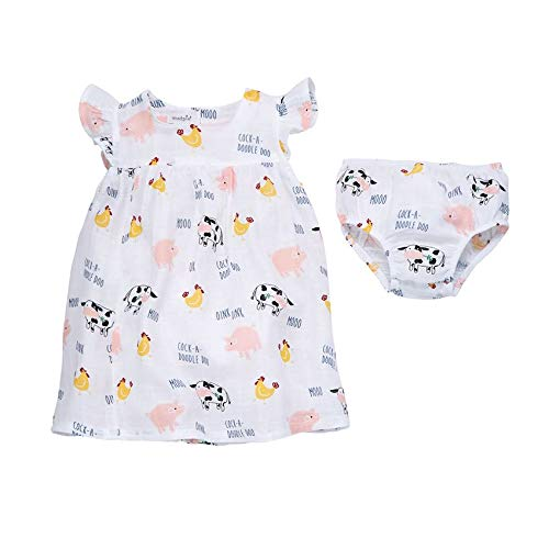 Mud Pie Muslin Farm Animals Dress (Mud Pie Dresses Girls 3t)