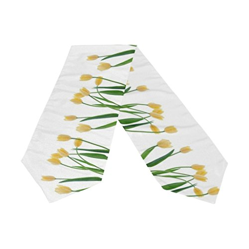 (Naanle Double-Sided Yellow Tulip Polyester Table Runner 13 x 70 Inches Long White Table Top Decoration)