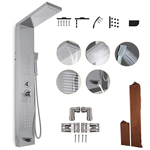 Happybuy Shower Panel Tower System Stainless Steel Multi-Function Shower Panel with Spout Rainfall Waterfall Massage Jets Tub Spout Hand Shower for Home Hotel Resort (Split, Polished Silver)