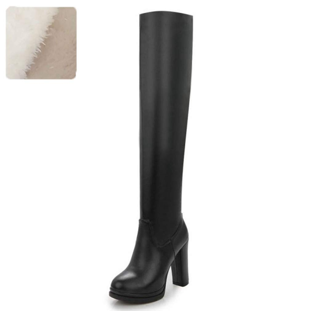 Black Fur T-JULY Winter Women Over The Knee Boots Fur Plush Zipper High Heels Footwear shoes