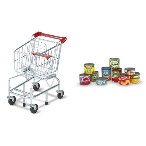 Melissa & Doug Shopping Cart and Melissa & Doug Let's Play House! Grocery Cans Bundle