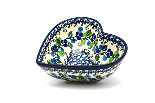 Polish Pottery Bowl - Deep Heart - Blue Berries