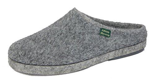 Amado Macario Malaga - Zapatillas de estar por casa de Tela para mujer gris