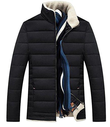Winter Down Collar Black Soild Men's Stand amp;S amp;W M Puffer Jackets T8qStt