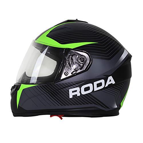 Casco Roda Super Star Mate Alpha Cerrado Svs Para Moto - Negro/Verde Mate, XXL