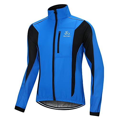 OUTON Men's Cycling Jacket Windproof Breathable Lightweight Reflective Warm Thermal Water-Resistant MTB Mountain Bike Jacket (Blue, L)
