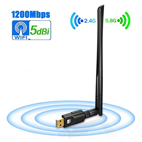 USB Wifi Adapter 1200Mbps, USB3.0 Wireless Network Adapter Wifi Dongle with 5dBi Antenna, DORISO Dual Band 2.4G/5G 802.11AC Wireless Network Card for Windoindows 10/8.1/8/7/XP/Vista, MAC OS 10.4-10.13 by DORISO
