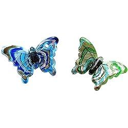 Linpeng Lampwork Glass Pendant/Swirl Design Butterfly/Millefiori Murano Chunky Pendant/Green & Blue 38x60mm / 2 Pcs Set