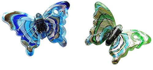 Linpeng Lampwork Glass Pendant/Swirl Design Butterfly/Millefiori Murano Chunky Pendant/Green & Blue 38x60mm/2 Pcs Set - Murano Lampwork Glass Butterfly Bead