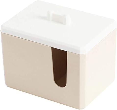 Yardwe – Dispensador de algodón y bastoncillo de algodón cuadrado con tapa, accesorio de baño de plástico para cosméticos: Amazon.es: Hogar