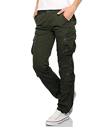 Womens Ladies Army Combat Cargo Cotton Military Trousers Pants Jeans (Army Green, X-Small)