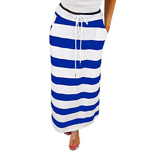 Stripe Short Skirt for Women Knee Length Casual Striped Skirts Summer Elastic