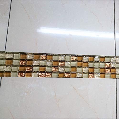 Bordüre 6,5x30cm MOSAKO Glas Metalleffekt kupfer//beige 1,5x1,5x0,8 cm