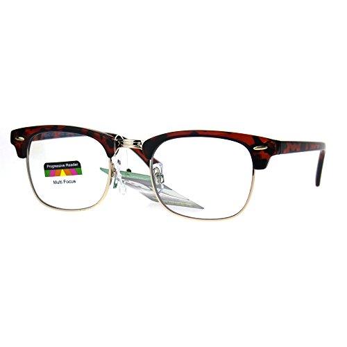 Half Horn Rim Hipster Multi 3 Focus Progressive Reading Glasses Tortoise Gold 1.0