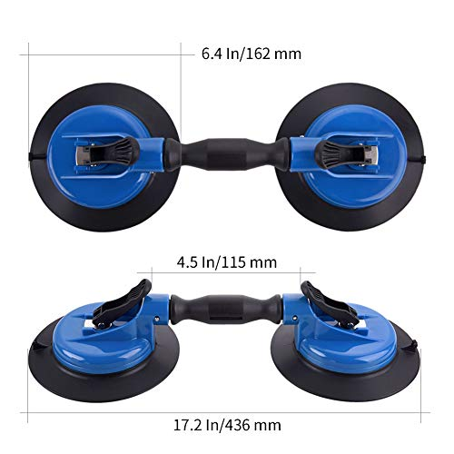 IMT Heavy Duty Dual Vacuum Suction Cup Glass Lifter with Curved Pads, Strength Handheld Stone Handling Tool, 330lb Horizontal Suction Cup by IMT (Image #2)