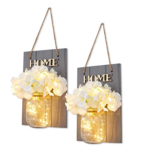 HABOM Mason Jar Sconce - Rustic Wall Decor with Fairy Lights - Hanging Wall Art for Indoor & Outdoor Farmhouse Garden Yard Home Decor - Battery Operated Night Lights Set of 2