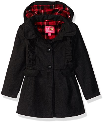 Pink Platinum Girls' Little Ruffles Wool Jacket, Black, 4 ()