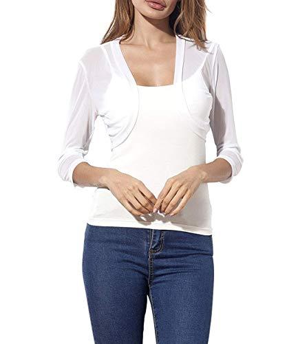 Lace Summer Cropped Cardigan Crochet for Women Wedding Dress Jacket (White,XXL) by Romanstii